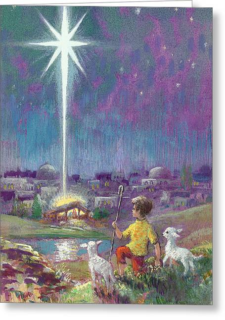 Manger Greeting Cards - The Star Of Bethlehem Gouache On Paper Greeting Card by Stanley Cooke