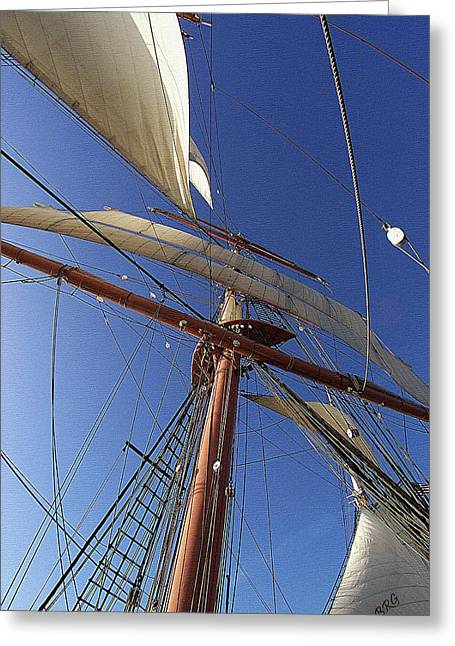 Old Ship Art Greeting Cards - The Star Of India. Mast And Sails Greeting Card by Ben and Raisa Gertsberg