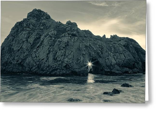 Big Sur Beach Greeting Cards - The Star of Pfeiffer BW Greeting Card by Jonathan Nguyen