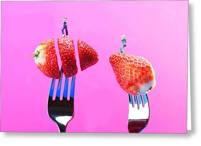 Creative People Greeting Cards - The star on strawberry Miniature Art Greeting Card by Paul Ge