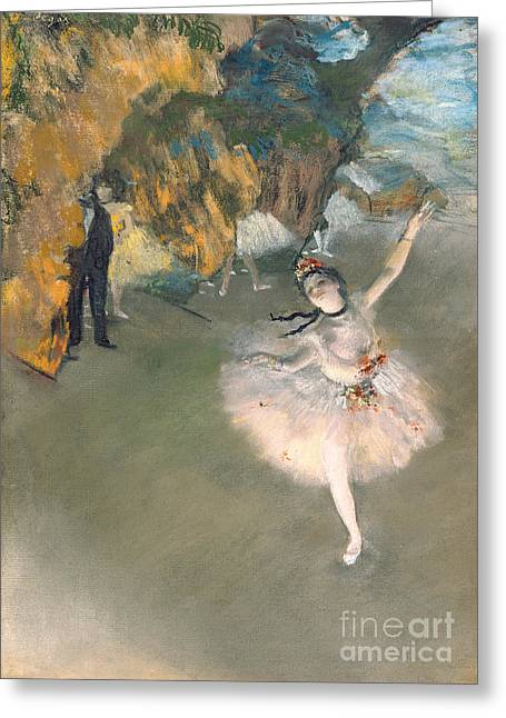 Tutus Paintings Greeting Cards - The Star or Dancer on the stage Greeting Card by Edgar Degas