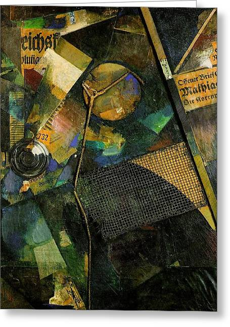 Oil On Cardboard Greeting Cards - The Star Picture 1920 Greeting Card by Kurt Schwitters