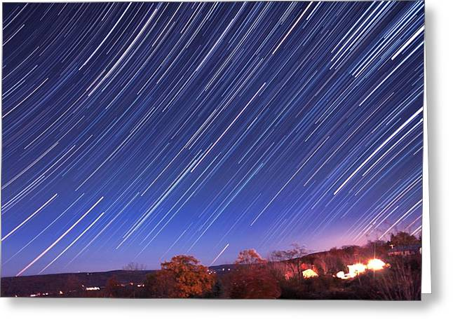 The star trail in Ithaca Greeting Card by Paul Ge