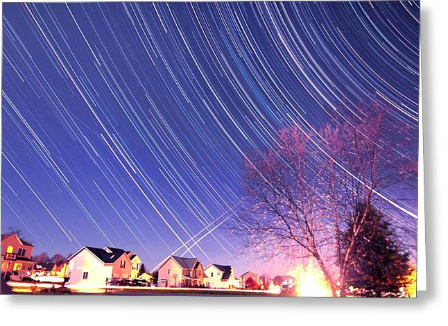 Sweetly Greeting Cards - The star trails Greeting Card by Paul Ge
