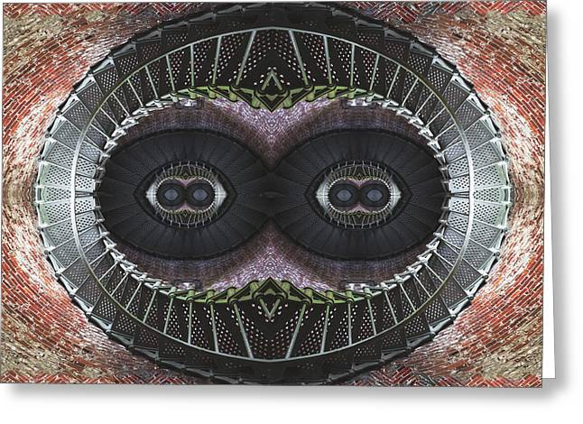 Gearing Greeting Cards - The Stare Greeting Card by Debra and Dave Vanderlaan
