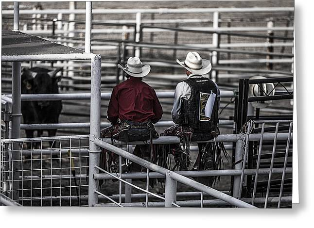 George Paul Memorial Rodeo Greeting Cards - The Stare-Off Begins Greeting Card by Amber Kresge