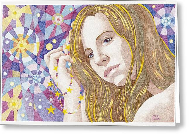 Stipple Drawings Greeting Cards - The Stargazer Greeting Card by Jack Puglisi