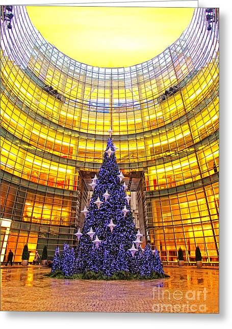 Christmas Greeting Photographs Greeting Cards - The Starry Christmas Tree and the Golden Building Greeting Card by Nishanth Gopinathan