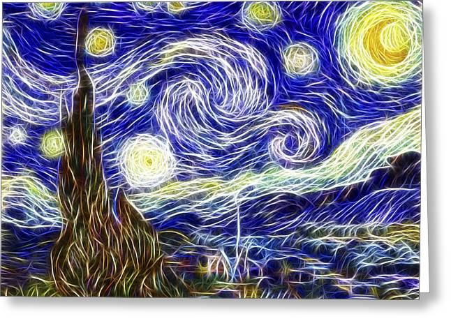 Celestial Digital Greeting Cards - The Starry Night Reimagined Greeting Card by Adam Romanowicz