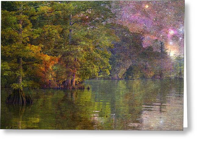 Cypress Tree Digital Art Greeting Cards - The Stars Give Way To The Sun Greeting Card by J Larry Walker