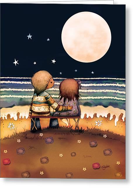 Sea Moon Full Moon Greeting Cards - The Stars The Moon And The Tide Greeting Card by Karin Taylor