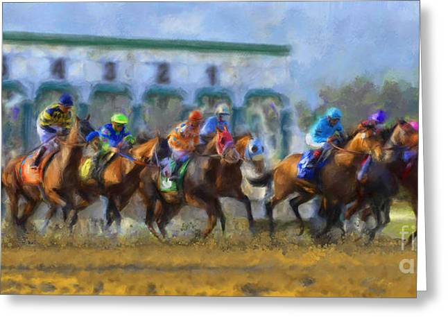 Quarter Horse Mixed Media Greeting Cards - The Starting Gate Greeting Card by Andrea Auletta