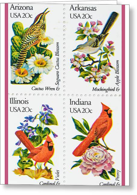 American Wicket Greeting Cards - The State Birds and Flowers stamps Greeting Card by Lanjee Chee