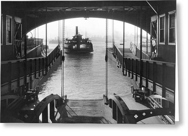 Staten Island Ferry Greeting Cards - The Staten Island Ferry Greeting Card by Underwood Archives