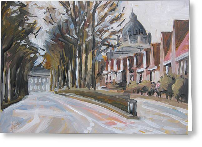 Limburg Paintings Greeting Cards - The Statensingel in Maastricht Greeting Card by Nop Briex