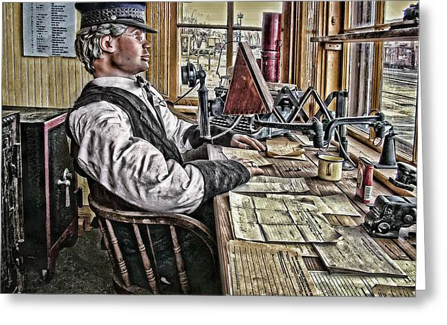 Typewriter Greeting Cards - The Station Master Greeting Card by Ken Smith