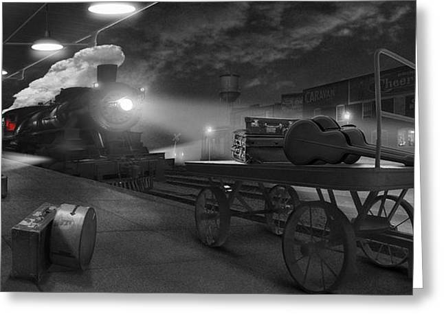 Railroad Tracks Greeting Cards - The Station - Panoramic Greeting Card by Mike McGlothlen