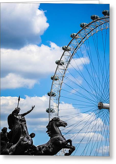 Huge Eyes Greeting Cards - The Statue of Boadicea standing in front of the London Eye in England Greeting Card by Nila Newsom
