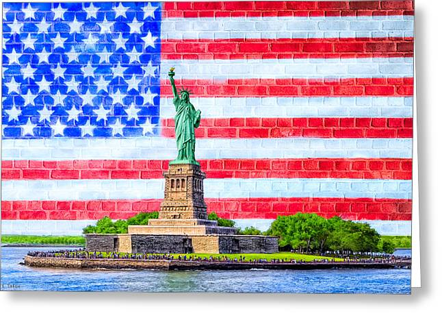 Bartholdi Greeting Cards - The Statue Of Liberty And The American Flag Greeting Card by Mark Tisdale