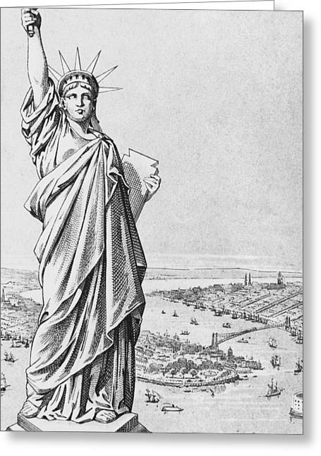 Bartholdi Greeting Cards - The Statue of Liberty New York Greeting Card by American School