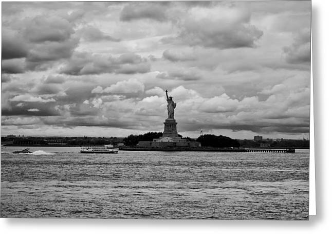 Wells Harbor Greeting Cards - The Statue of Liberty on a Cloudy Day Greeting Card by Mountain Dreams