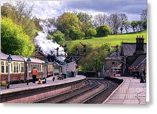 Platform. Level Greeting Cards - The Steam Train Arriving at  Greeting Card by David  Hollingworth