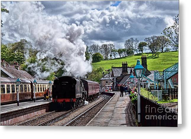 Platform. Level Greeting Cards - The Steam Train Departing at  Greeting Card by David  Hollingworth