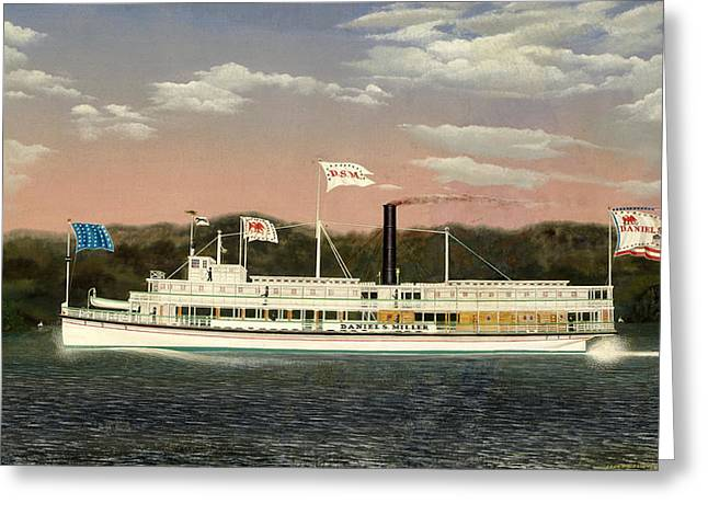 Steamboat Greeting Cards - The Steamboat Daniel S. Miller Greeting Card by James Bard