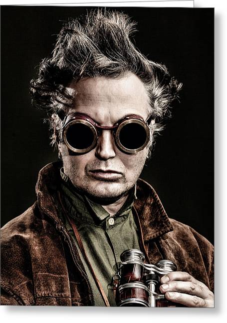 Self-portrait Photographs Greeting Cards - The Steampunk - Sci-Fi Greeting Card by Gary Heller