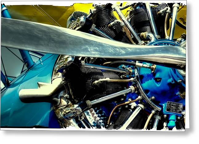 Aircraft Engine Greeting Cards - The Stearman Engine Greeting Card by David Patterson