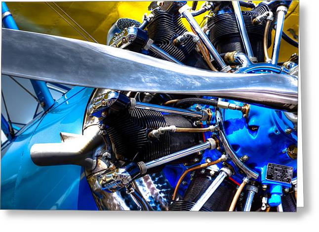 Propeller Greeting Cards - The Stearman Jacobs Aircraft Engine Greeting Card by David Patterson