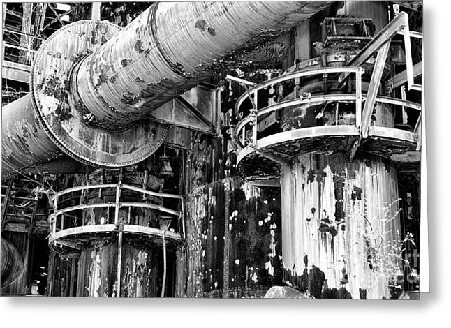 Abandoned Mill Greeting Cards - The Steel Mill in black and white Greeting Card by Paul Ward