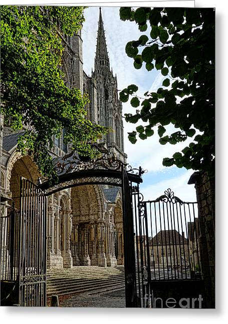 Medieval Entrance Photographs Greeting Cards - The Steeple and the Gate Greeting Card by Olivier Le Queinec
