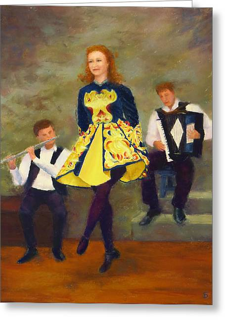 Stage Pastels Greeting Cards - The Stepdancer Greeting Card by Stacey David