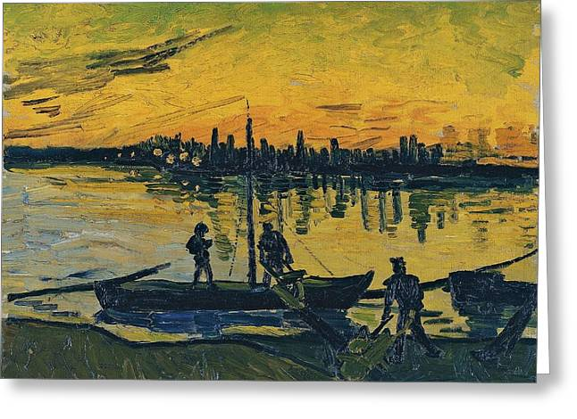 Barges Greeting Cards Greeting Cards - The Stevedores in Arles  Greeting Card by Vincent van Gogh
