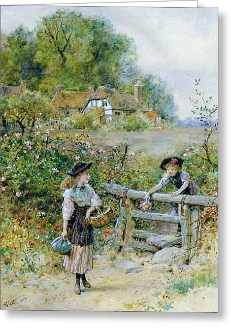 Wooden Fence Greeting Cards - The Stile Greeting Card by William Stephen Coleman