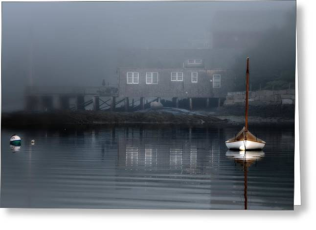 Sailboat Art Greeting Cards - The Still of Morning - Maine Greeting Card by Thomas Schoeller