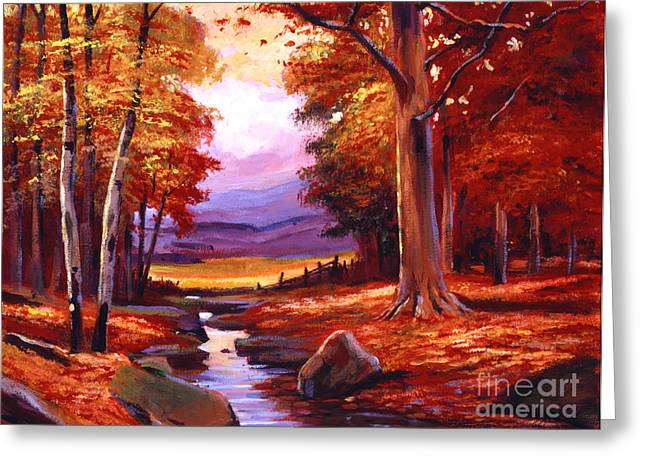 Birch Tree Greeting Cards - The Stillness of Autumn Greeting Card by David Lloyd Glover