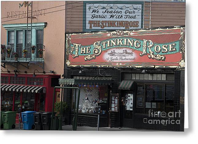 Italian Restaurant Greeting Cards - The Stinking Rose Greeting Card by David Bearden