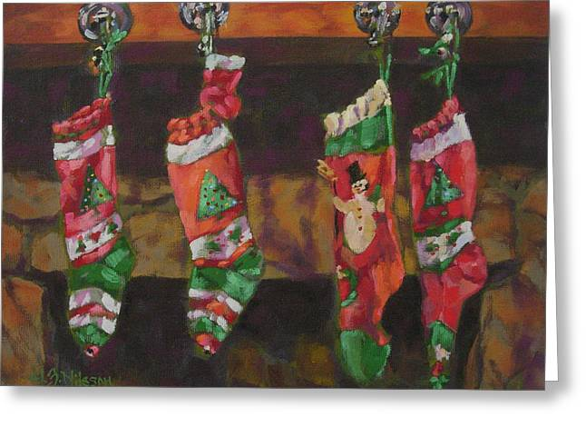 Hand-knitted Greeting Cards - The Stockings Greeting Card by Gloria  Nilsson