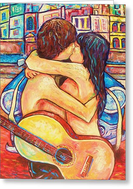 Steal Prints Greeting Cards - The Stolen Kiss Greeting Card by Damien Cruz