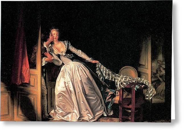 A Kiss Greeting Cards - The Stolen Kiss Greeting Card by Jean-Honore Fragonard