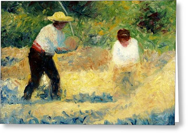 Seurat Greeting Cards - The Stone Breaker Greeting Card by Georges Seurat