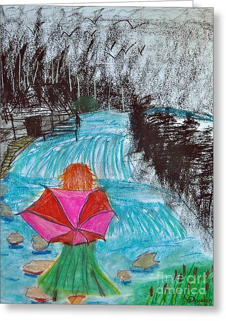 Stepping Stones Mixed Media Greeting Cards - The Stone Bridge Greeting Card by Avalon Theisen