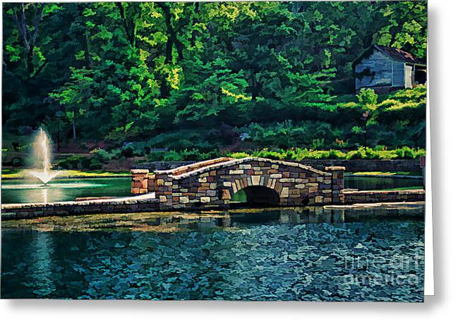Fountain Digital Art Greeting Cards - The Stone Bridge Greeting Card by Darren Fisher