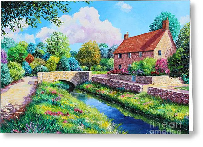Villa Paintings Greeting Cards - The Stone Bridge Greeting Card by Jean Marc Janiaczyk