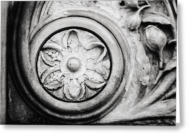 Stone Carving Greeting Cards - The Stone Circle in Black and White Greeting Card by Lisa Russo