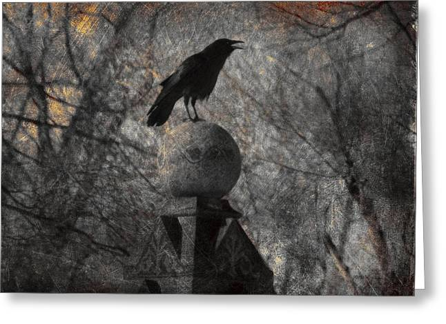 Corvus Corax Greeting Cards - The Stone Globe Greeting Card by Gothicolors Donna Snyder
