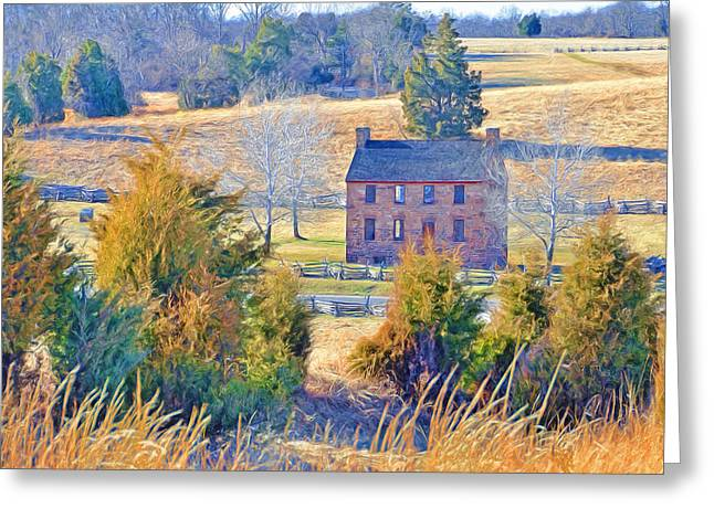 Confederacy Digital Art Greeting Cards - The Stone House / Manassas National Battlefield Park in Winter Greeting Card by Digital Photographic Arts
