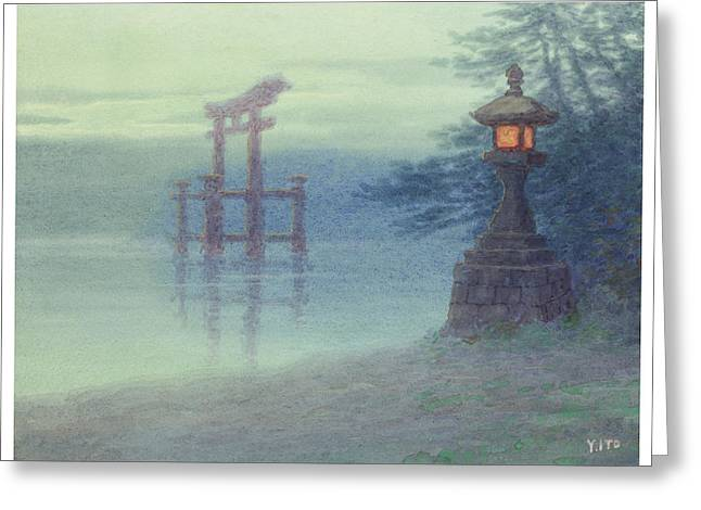 Shinto Greeting Cards - The Stone lantern cira 1880 Greeting Card by Aged Pixel